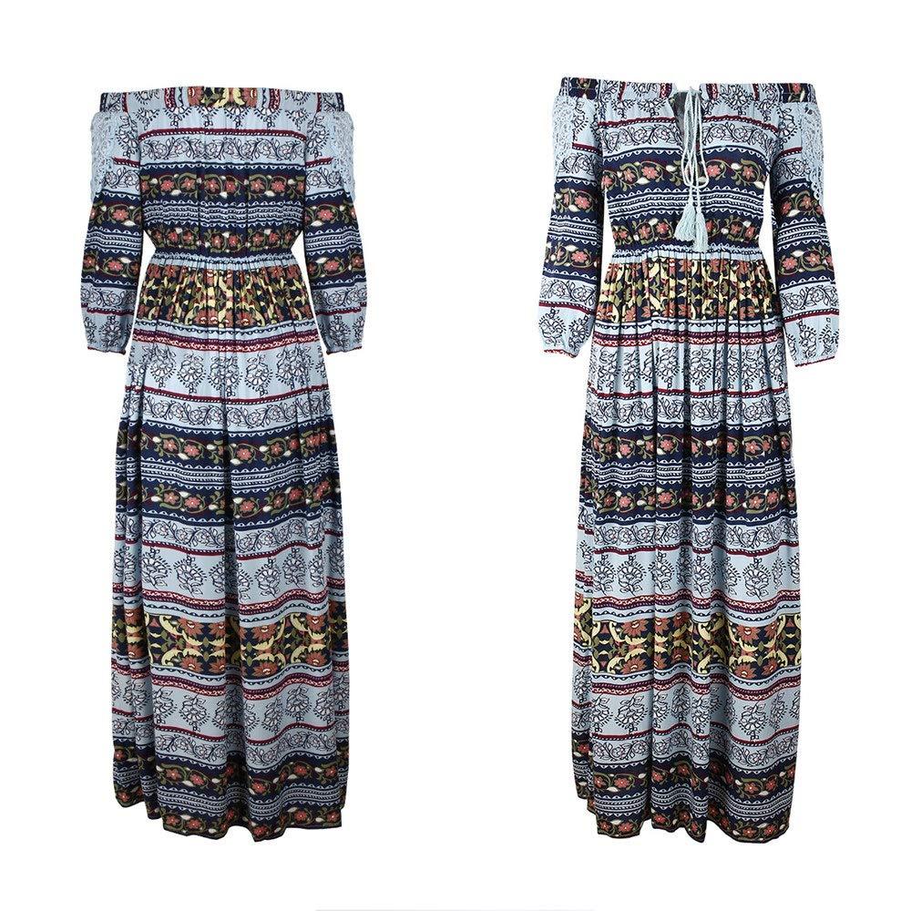 bluee Elegant Women's Dress Women Summer Spring Long Dress Off Shoulder 3 4 Sleeve Bohemia Print Flowy Party Dress Casual Plus Size Loose Swing Dress Boho Beach Dress Sundress Maternity Maxi Dress