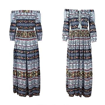 Women 3//4 Sleeve Bohemia Floral Long Maxi Dress Summer Beach Party Sundress Plus