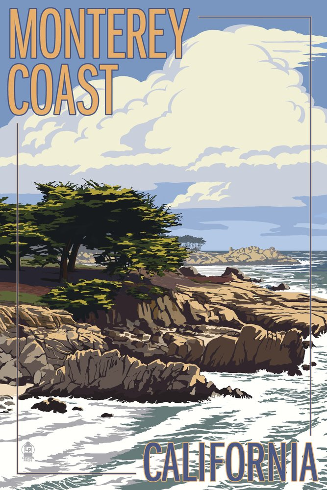 Monterey Coast, CA View of Cypress Trees (12x18 Art Print, Wall Decor Travel Poster) by Lantern Press B00N5CO7L8 12 x 18 Art Print12 x 18 Art Print