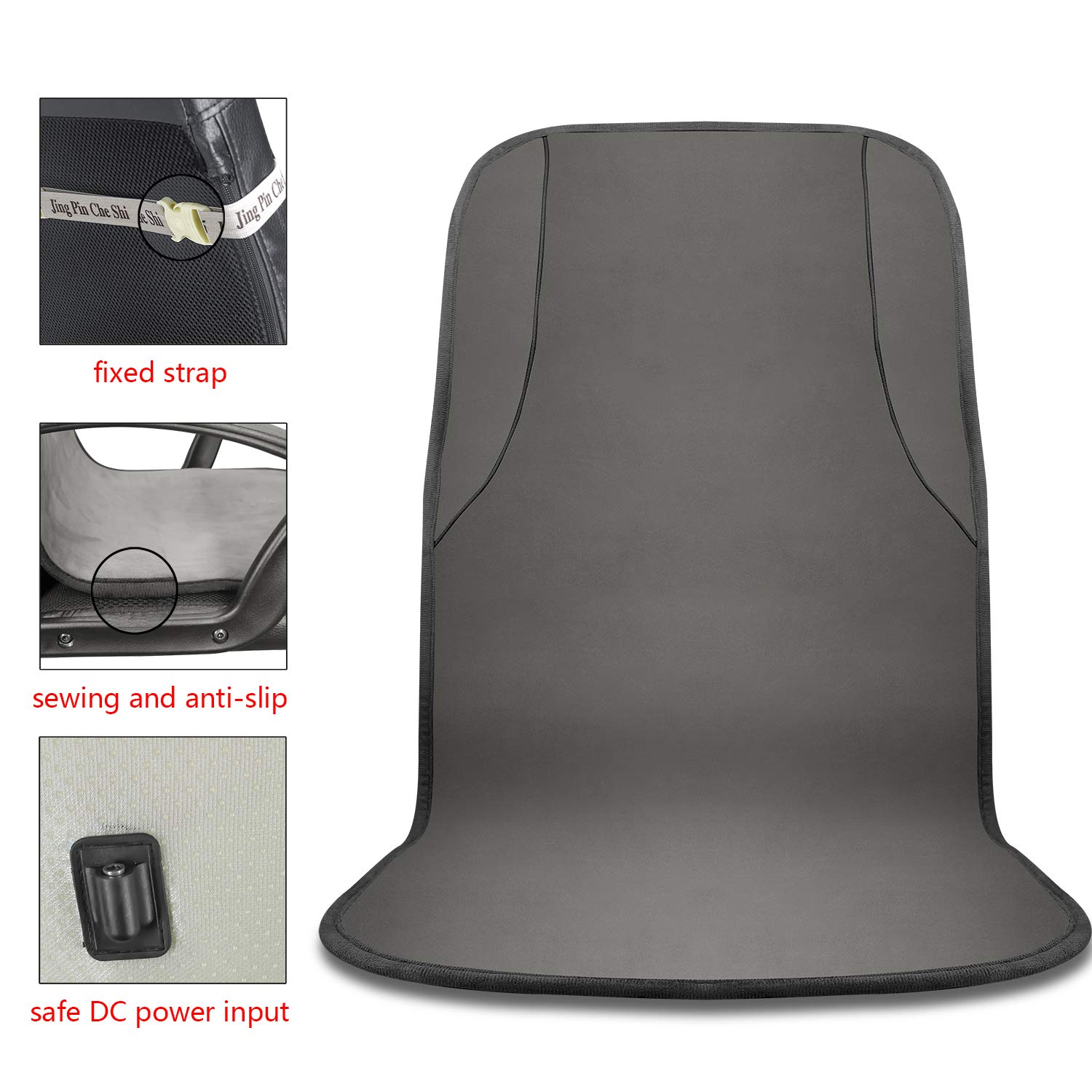 Gray KUPX 24V UL DC Power Safe and Healthy Infrared Zero Radiation Multifunctional Carbon Fibre 30 Seconds Fast Heated Warm Office Chair Mat Back and Seat Cushion Pad Temperature Adjustable