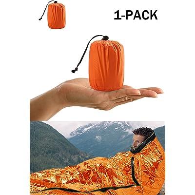 Shayson Saco de Emergencia Dormir,Aislamiento Térmico, Exterior Brillante Naranja Fácil de Localizar Portátil,para Acampar Supervivencia Al Aire Libre