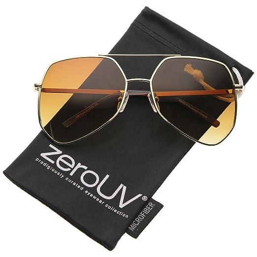 3e3919a6fe Modern Oversized Metal Brow Bar Thin Temple Geometric Aviator Sunglasses  60mm (Gold Amber)