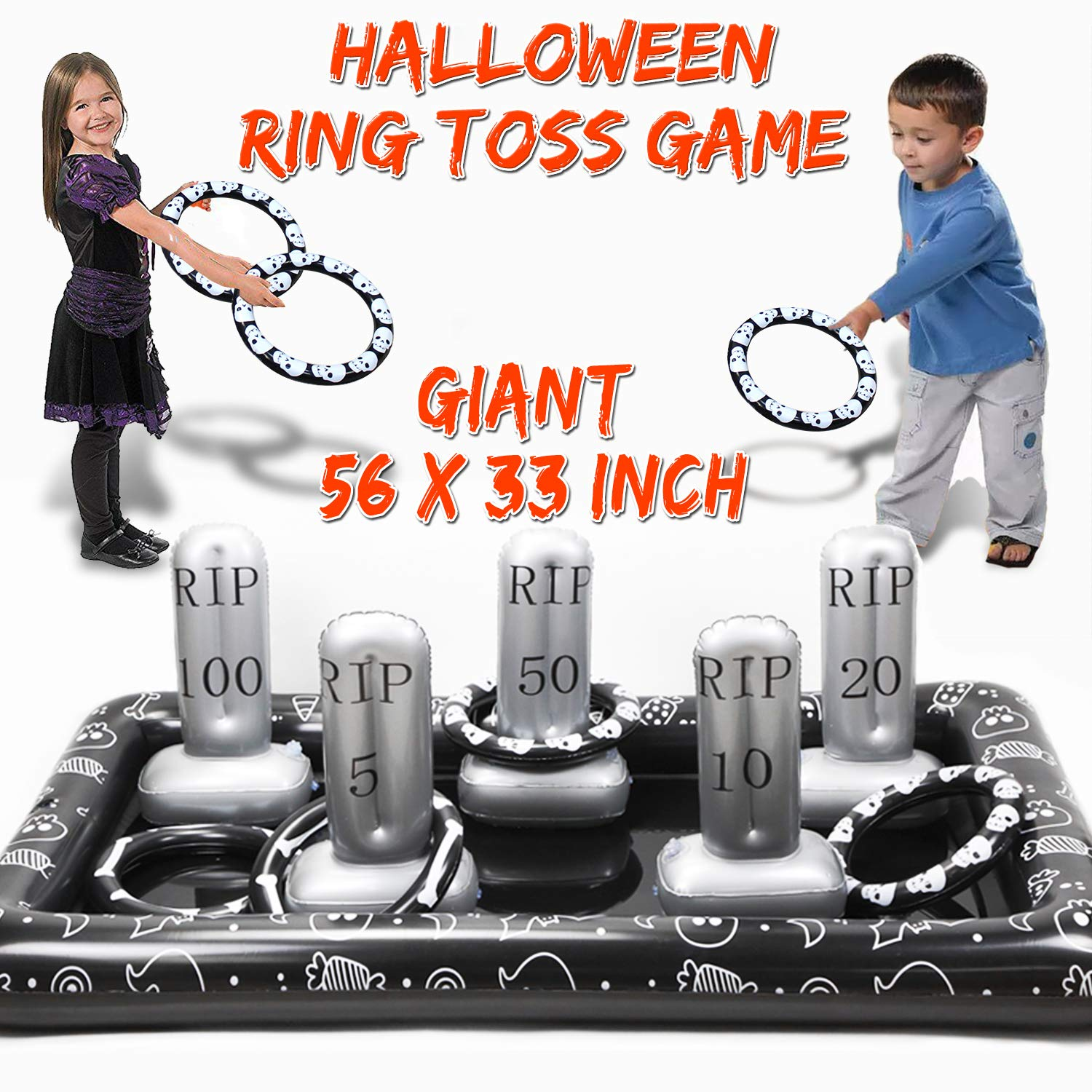 AMENON Inflatable Ring Toss Game, Perfect for Halloween Party Games Fun Indoor Outdoor Activities Game Halloween Party Favors School Carnival Family Game Birthday Holiday Party Toys for Kids Adults by AMENON