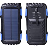 Solar Charger, Friengood Portable 25000mAh Solar Power Bank, Waterproof Solar External Battery Pack with Dual USB Ports and Flashlight for iPhone, iPad, Samsung, Android Phones and More (Blue)