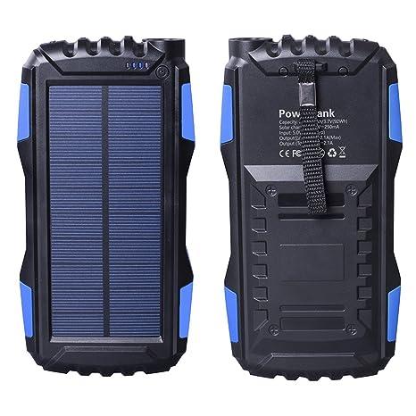 Friengood Cargador Solar, Portátil 25000mAh Solar Power Bank, Impermeable Solar Batería Externa Pack con Dual USB Puertos y Linterna para iPhone, ...