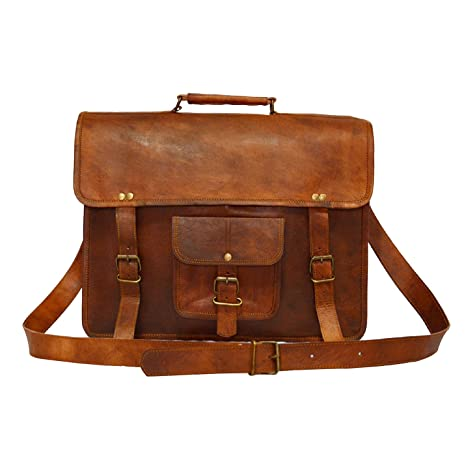 bf025ea75d Digital Rajasthan Vintage Bags Genuine Leather Executive Office Bag 15 X 11  X 3 inch. (Brown)  Amazon.in  Bags