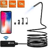 [5,5mm Diámetro] KZYEE WiFi Endoscopio 2,0 MP 1080P HD Cámara de Inspección Impermeable para Android iOS Smartphone iPhone Samsung Tablet - 5M Semirrígido Cable