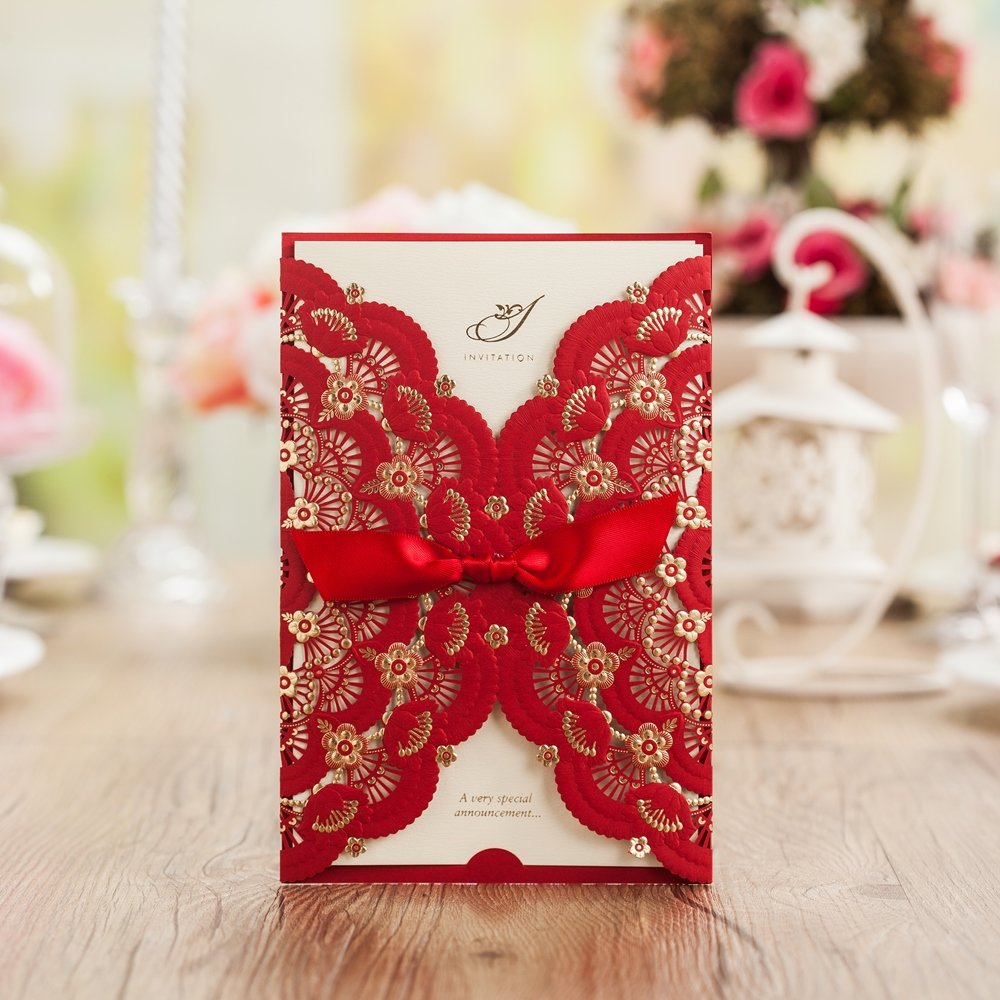 Amazon.com: Wishmade 100X Red Color Gold Foil Laser Cut Lace Wedding ...