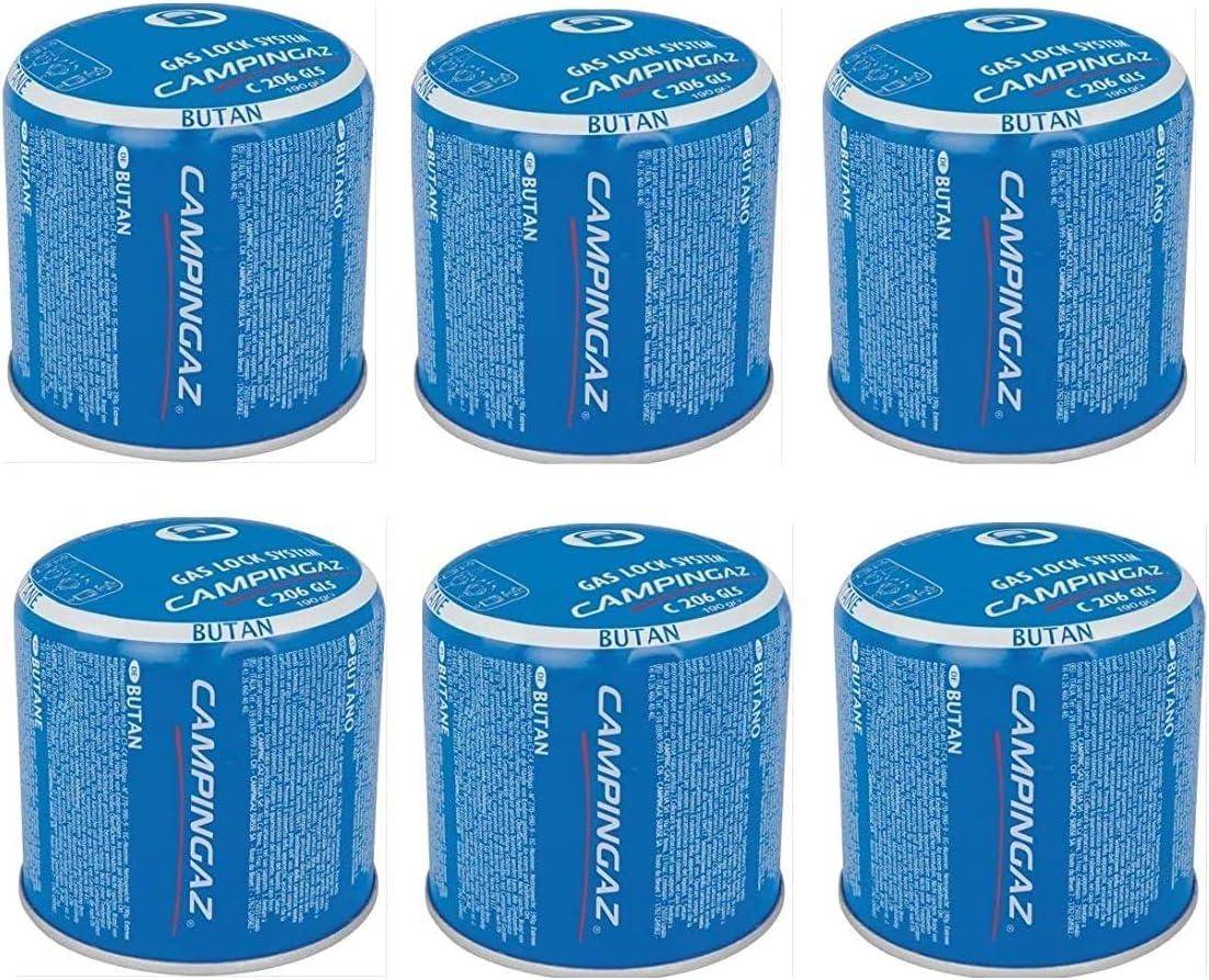 Bombona de cartucho de cartuchos de gas de 190 g – C206 GLS Campingaz C206GLS – con sistema de seguridad de membrana – Oferta para 6 bombonas