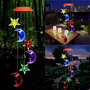 YUMAMEI Solar Wind Chimes Lights, Outdoor Moon and Star Solar Lights, Mobile Wind-Bell, Waterproof Color Changing Wind Chimes, Spiral Spinner Festival Garden Decoration (Moon & Star)