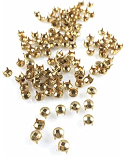 4 Prong 6MM 15//64 /… 100 PCS Spots Studs: Size 30//107 Round with Six Facets Gold Finish Nailheads