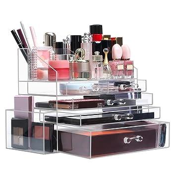 LANGRIA Rangement Maquillage en Acrylique Comprenant 5 Tiroirs, 6  Compartiments Ouverts et 12 Compartiments pour 94fd38db72a2