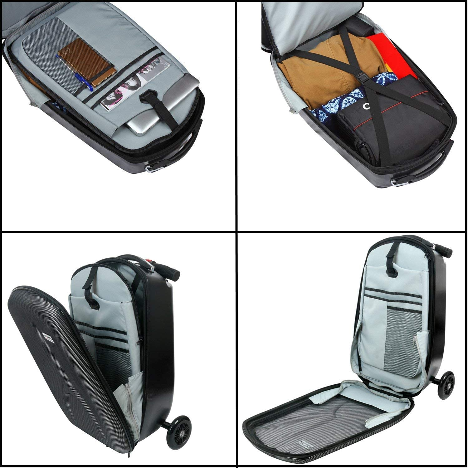 18 inches iubest Scooter Luggage for Adult Carry on Suitcase Foldable Trolley Case Bags for Travel Business and School Men 50 liter