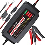 BMK 12V 5A Smart Battery Charger Portable Battery Maintainer with Detachable Alligator Rings Clips Fast Charging Trickle…