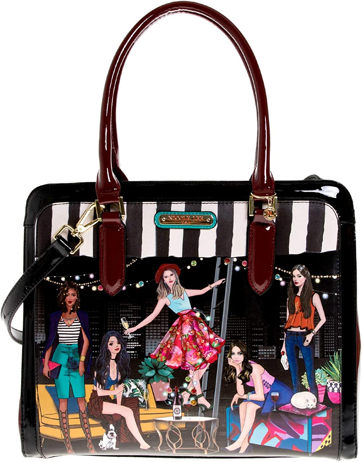 Stylish Printed Briefcase Satchel Bag For Women With Multiple Compartments