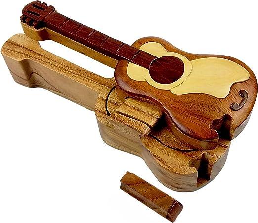 Guitarra todos los Maderas exóticas naturales caja de Puzzle, 8