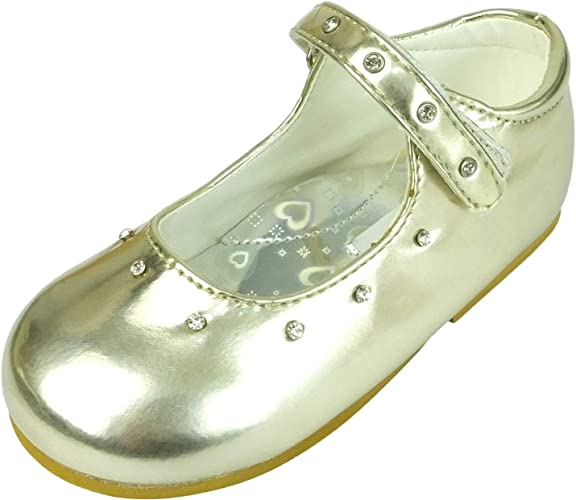 Mary Jane Patent Diamante Strap Girls Wedding Party Shoes in Gold and Silver