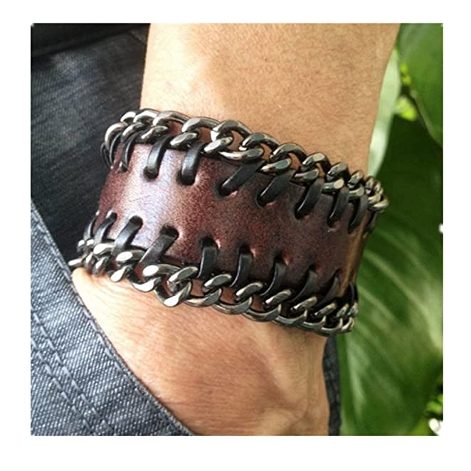 Men's Antique Brown Leather Metal Chains Wristband Cuff