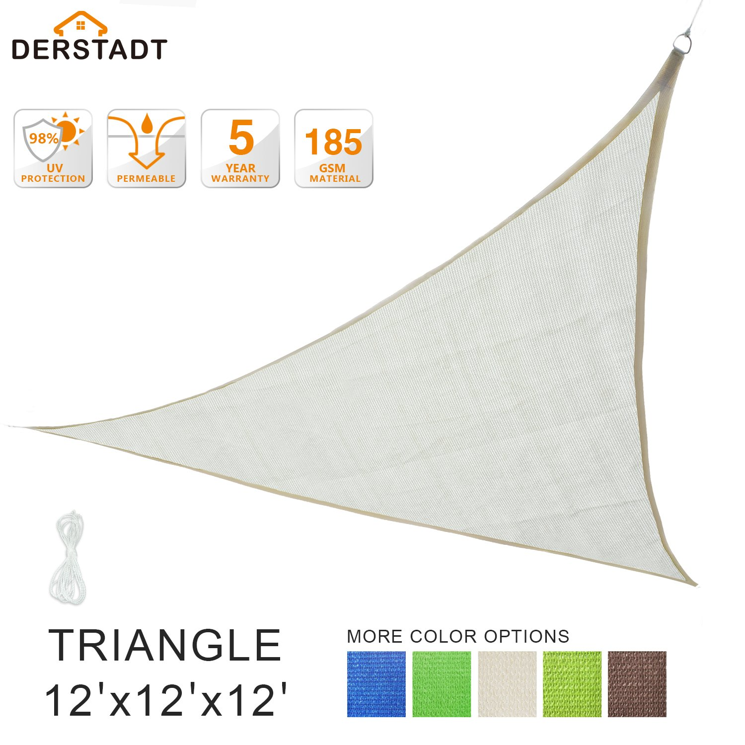 Derstadt Sun Shade Sail Outdoor Patio Canopy Backyard, Triangle