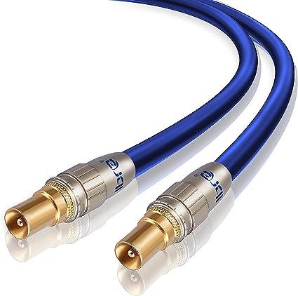 IBRA - 10m Cable de Antena HDTV Premium | Cable coaxial HDTV/Full HD | coaxial Macho en coaxial Macho | UHF/RF/TDT | contactos Dorados | Azul