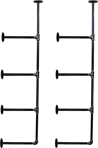12 Industrial Black Malleable Pipe Nipples Rustic Industry Approved 1 2 x 12 Inch Pipes for DIY Furniture Floating Shelves Hanging Storage Racks Towel Hooks 4 Shelf Open Kitchen Bookshelf