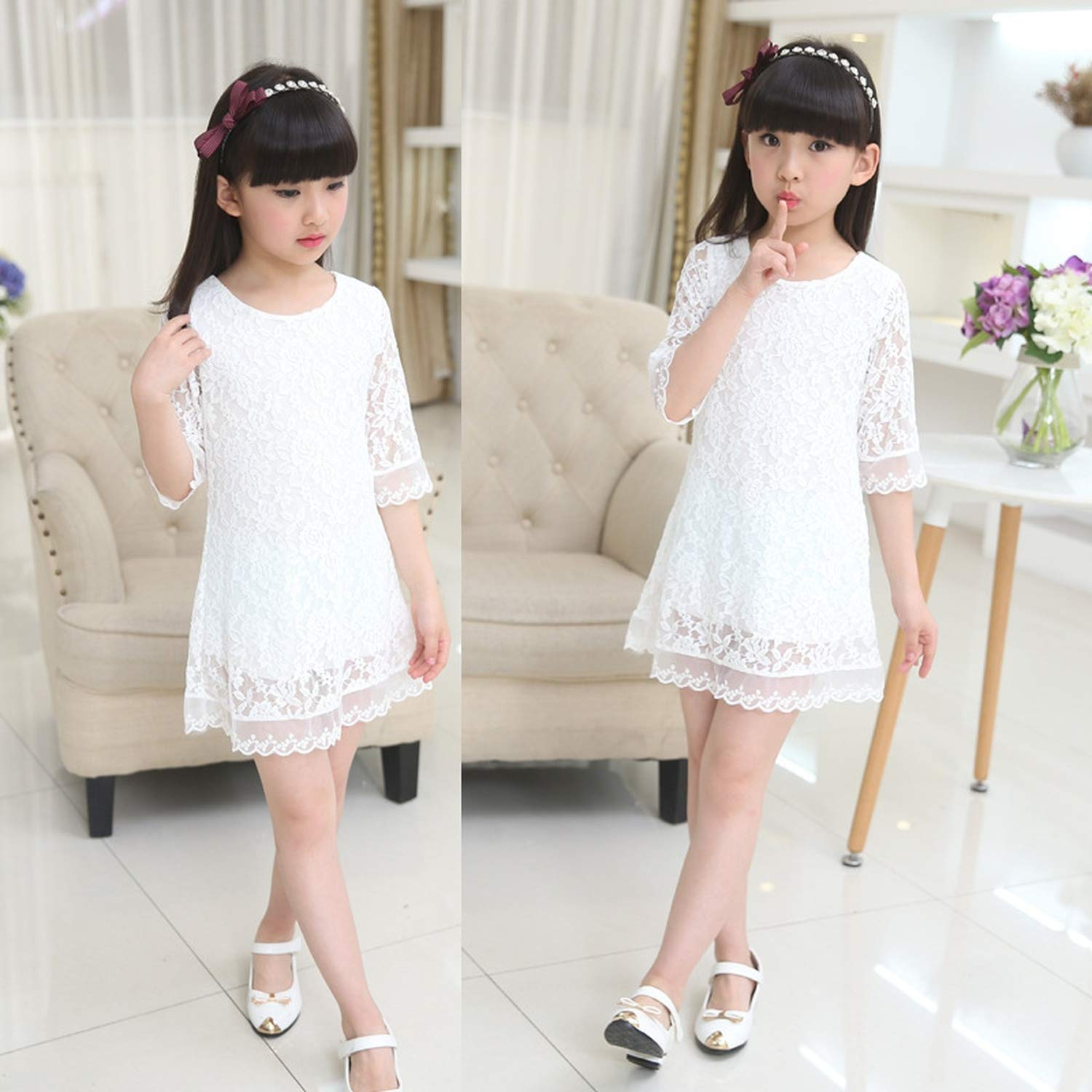 Kids 2018 Summer Autumn Lace Dress White Large Size Girls Dress Princess 3 4 6 8 10 12 14 16 18 Years Old Baby Girl,White,7 by Gooding Day (Image #5)