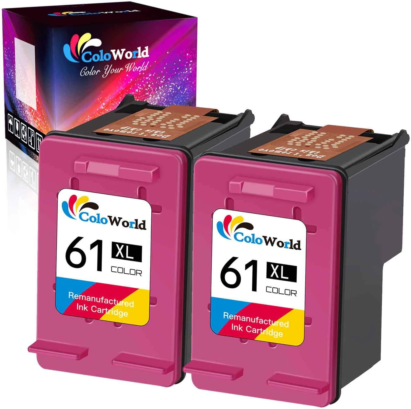 ColoWorld Remanufactured 61XL 61 Ink Cartridge Replacement for HP 61 61XL 61 XL Used in HP Envy 4500 5530 4501 4502 OfficeJet 2620 2622 Deskjet 3050A 3060 3000 3054 3050 1051 Printer (2 Color)