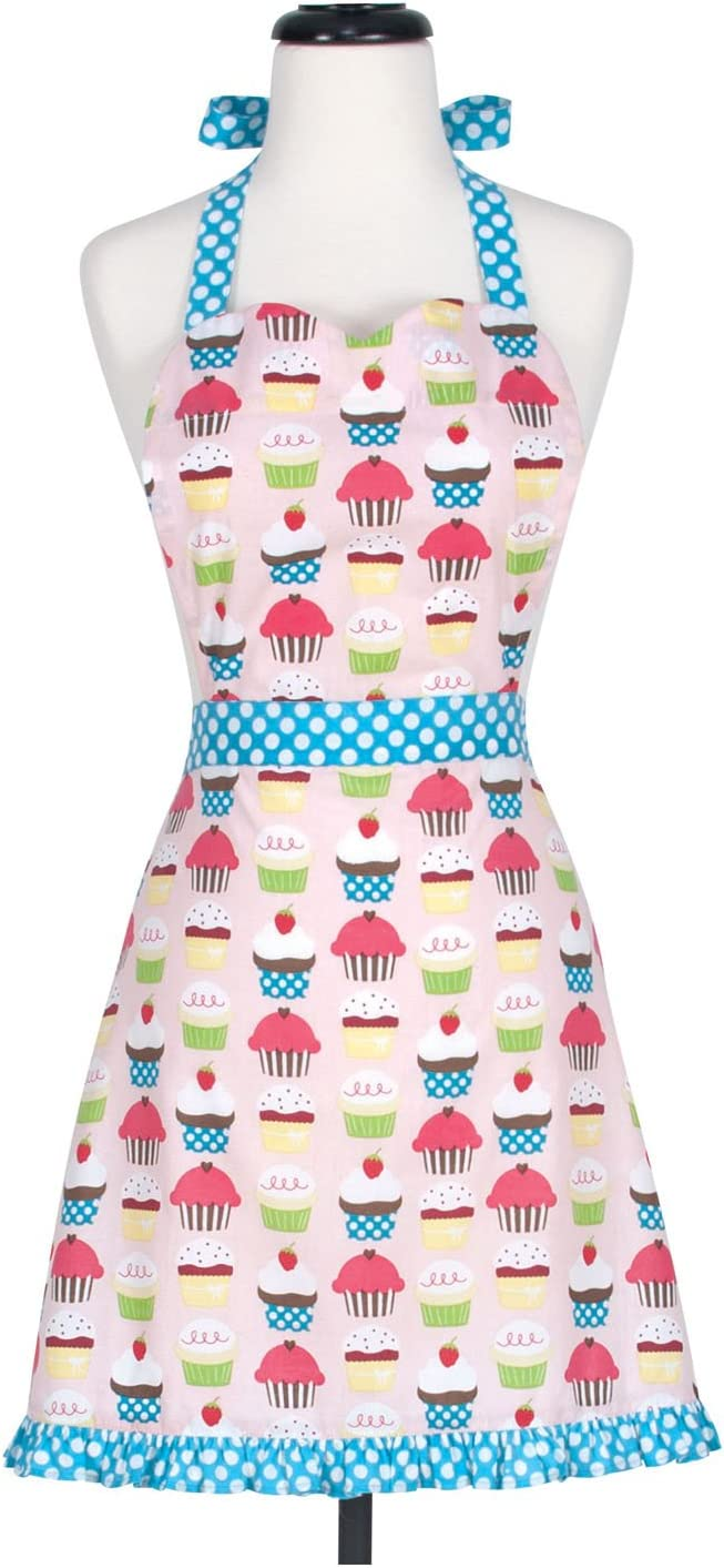 KAF Home Cupcake Adult's Hostess Extra Long Ties – Adjustable Bib Apron-Machine Wash-Used in Kitchen, Gardening