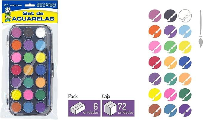 Estuche de 21 Acuarelas con Pincel - 2 Packs - Ideal para niños - Pintar Dibujos, Paisajes, Cuadros de Forma Facil.: Amazon.es: Juguetes y juegos