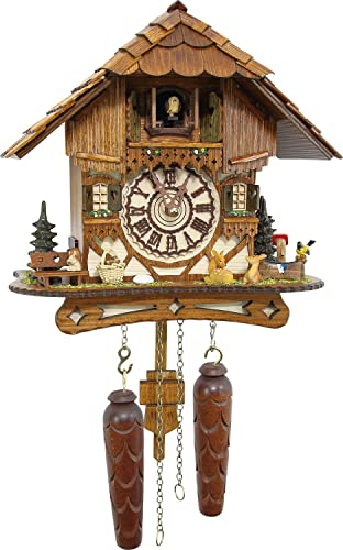 Cuckoo-Palace German Cuckoo Clock – Blackforest Hillside Chalet with Wonderful Animals with Quartz Movement – 10 1 4 inches Height