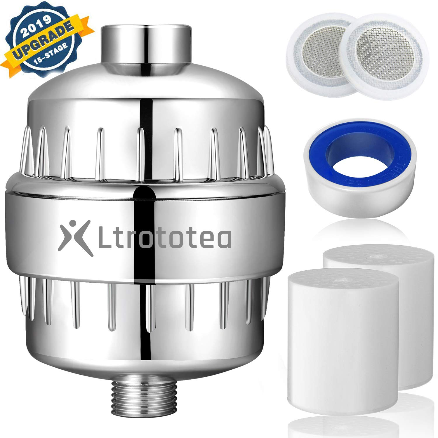 15 Stage Shower Filter Hard Water Filter to Remove Chlorine and Fluoride Universal High Output Vitamin C Shower Head Filter 2 Cartridges Included Reduces Dry Itchy Skin, Dandruff, Eczema by Ltrototea