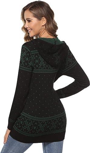 Hawiton Pull Femme Hiver No/ël Pullover Tricot/é /à Col Rond Manches Longues /Épais et Chaud Jumper Christmas