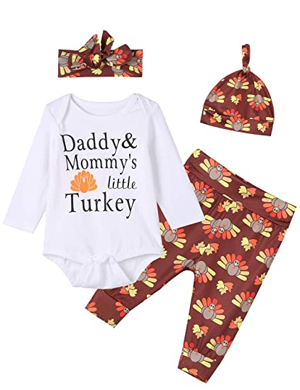 db5579de2e3 Baby Boys Girls 4PCS Daddy Mommy s Little Turkey Cute Outfit Clothes Set  Thanksgiving Romper (0