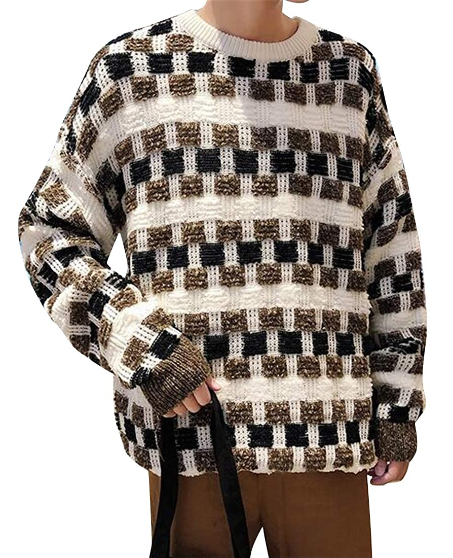 Bravepe Mens Thermal Loose Knitted Checkered Crew Pullover Sweaters