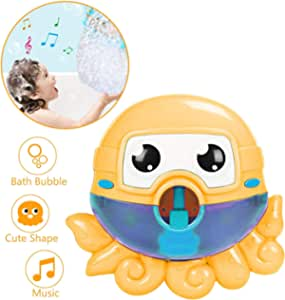 Seckton Bath Toys for 1-3 Year Old Boys Girls Bubble Machine for Kids Bathtub Toy Octopus Bubble Maker Toddlers Bubble Blower Orange
