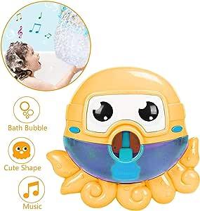 Seckton Bath Toys for 1-3 Year Old Boys Girls Bubble Machine for Kids Bathtub Toy Octopus Bubble Maker Toddlers Bubble Blower Orange