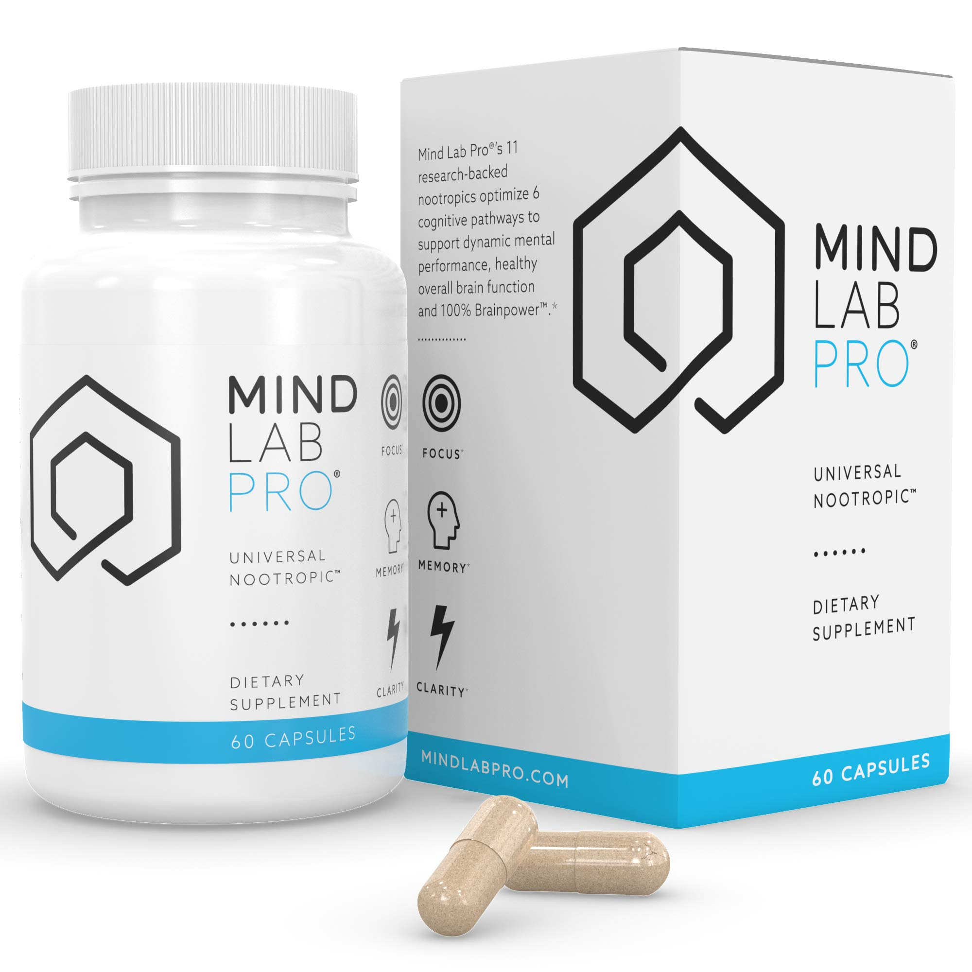 Mind Lab Pro® Universal Nootropic™ Brain Booster Supplement for Focus, Memory, Clarity, Energy - 60 Capsules - Plant-Based, Naturally Sourced Memory Vitamins for Better Brain Health