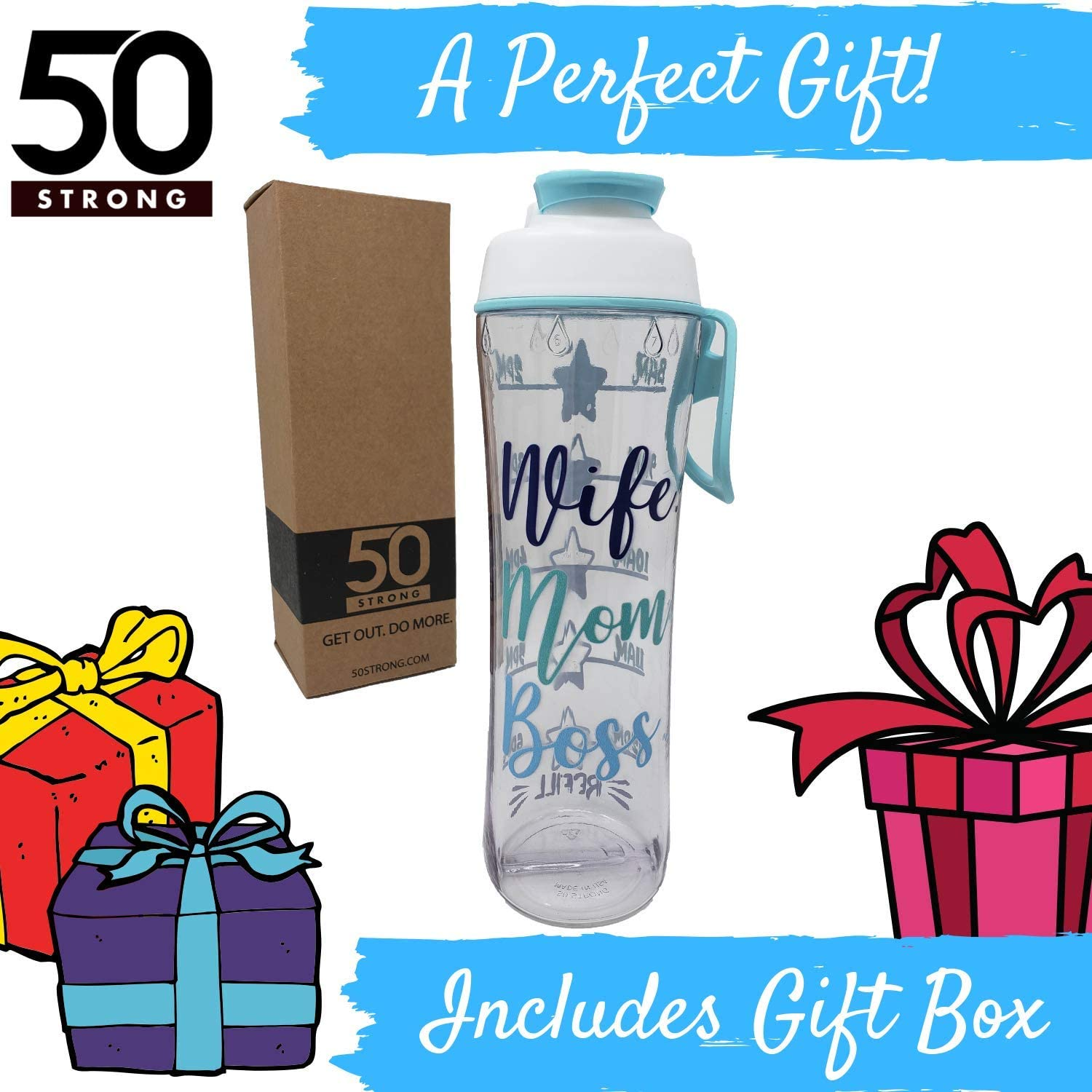 Drink More Water Daily Hours Marked Motivational Fitness Bottles Tracker Helps You Drink Water All Day -Made in USA 50 Strong BPA Free Reusable Water Bottle with Time Marker