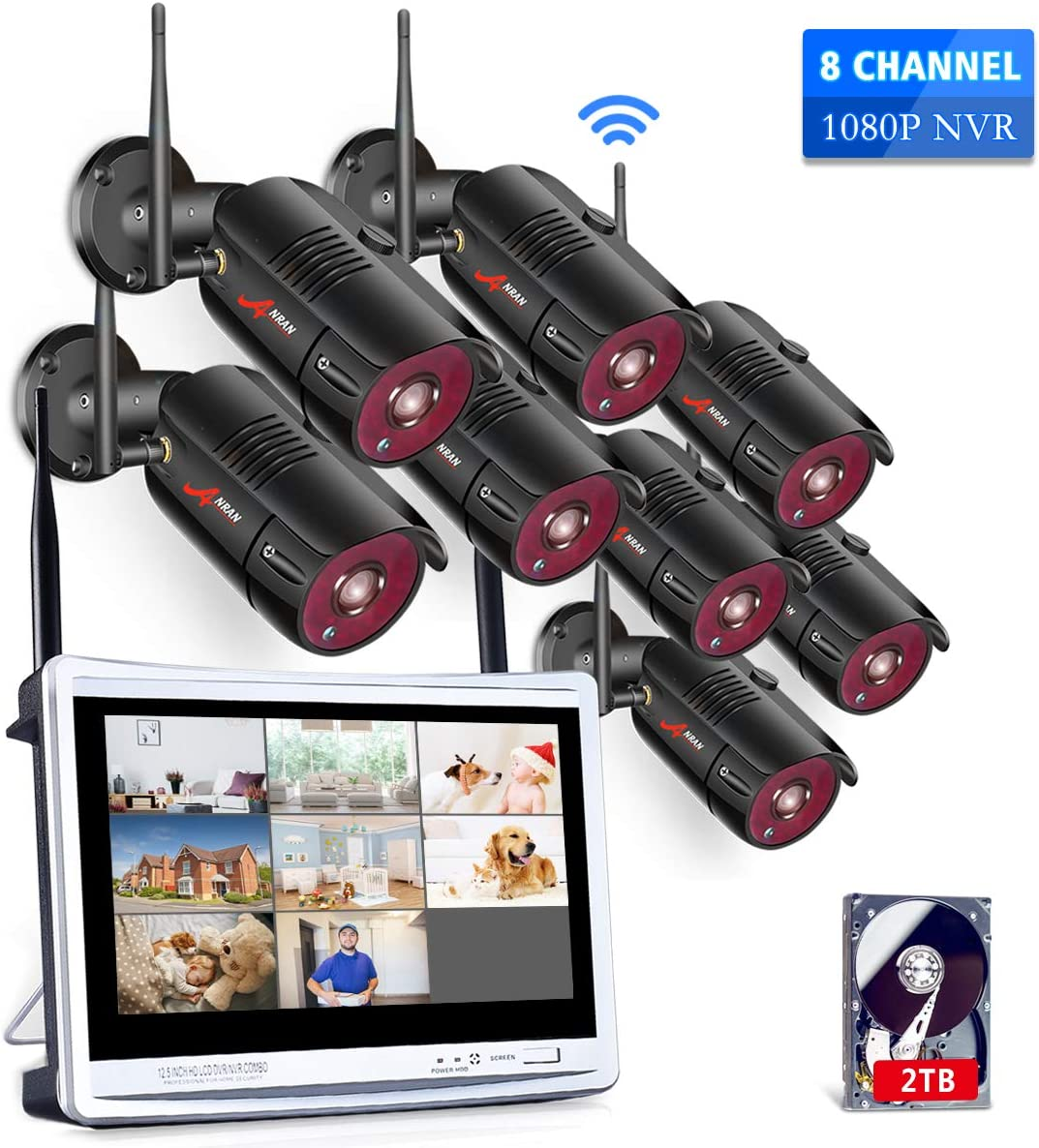 All-in-One 8 Channel Wireless Home Security Camera System with 12 Inch Monitor NVR Kits,1080P WiFi IP Surveillance Video System 2TB HDD with 8Pcs 2.0MP Cameras,75ft Night Vision,Motion Detection ANRAN