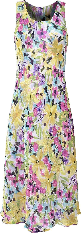 "Kentex women's sleeveless reversible dress in vibrant summer prints calf length (46"") S M L XL"