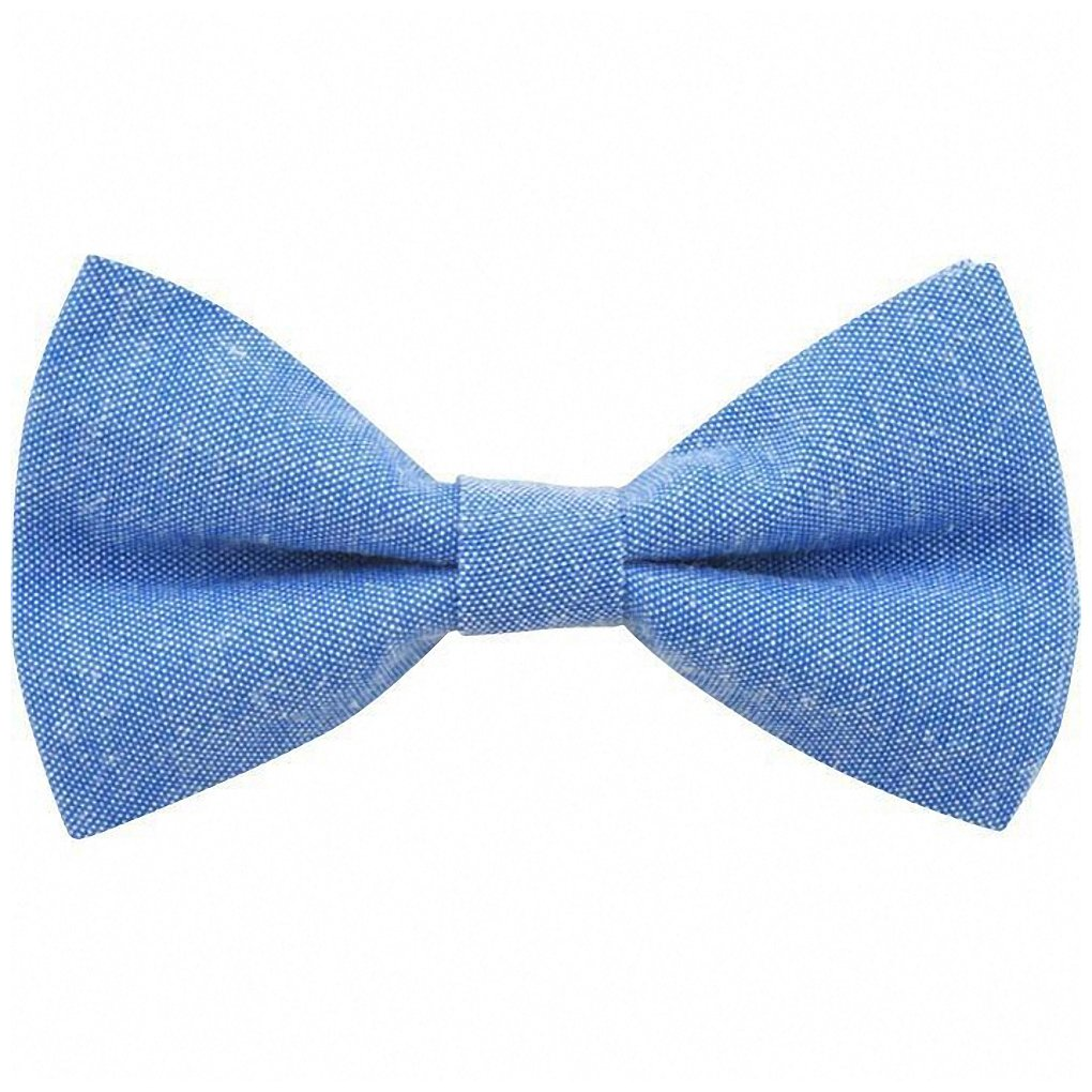 Children's Kids Boys Light Blue Elasticated Cotton Bow Tie