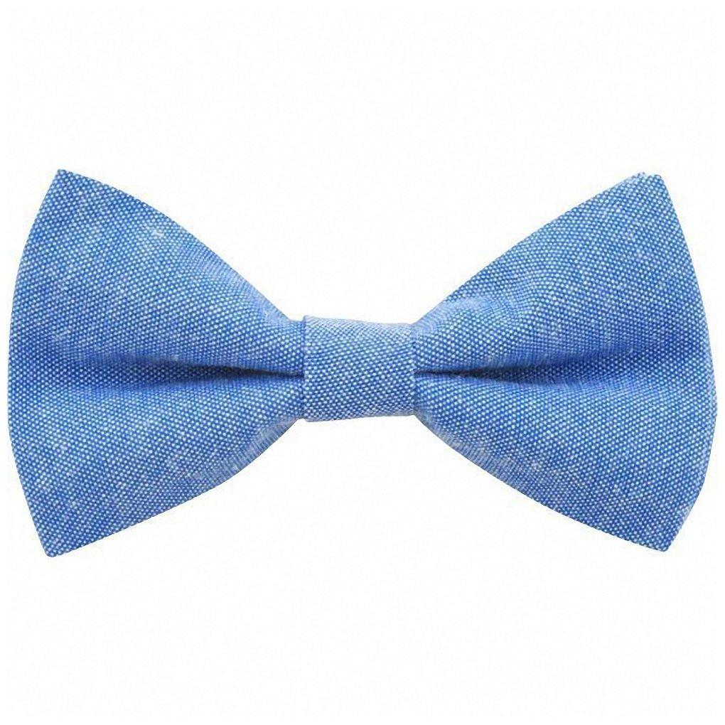 Children's Kids Boys Light Blue Elasticated Cotton Bow Tie