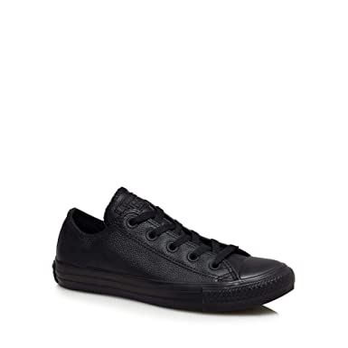 00531f2e8e3f Converse Womens Black Leather  Chuck Taylor All Star Ox  Trainers ...