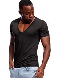 22e1ceff Zbrandy Deep V Neck T Shirt for Men Low Cut Vneck Tee Invisible Tshirt Vee  Top