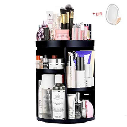Aspior Bathroom Organizer 360 Rotating Cosmetic Storage Holders For Modern  Vanity Countertop Makeup Accessories Display Large
