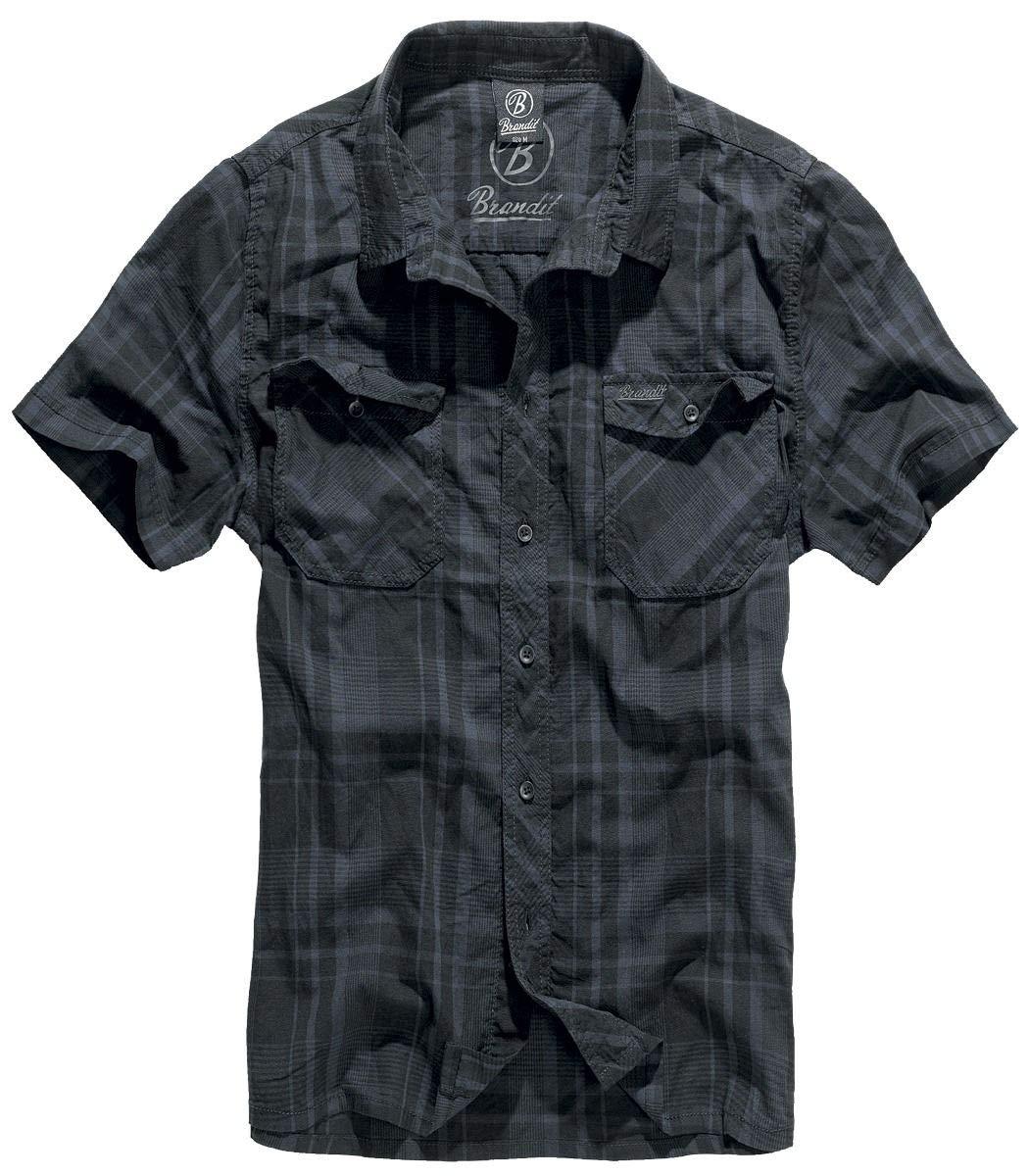 Brandit Hombres Roadstar Camisa Negro / Azul