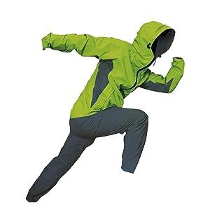 トオケミ(TOHKEMI) 全天候型 アウトドア(透湿レイン) ウェア FE ストレッチ Rain Suit (#7900) + キャリーポーチ セット (色選択可能) (ライム, L)