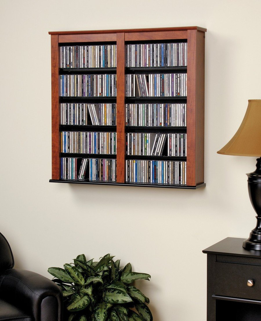 double wall mounted storage shelves adjustable organizer dvds blu ray movies ebay. Black Bedroom Furniture Sets. Home Design Ideas