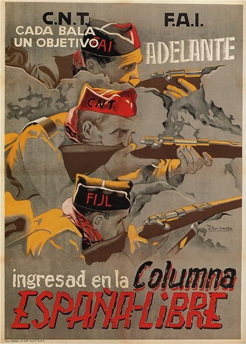 Póster vintage de la Guerra Civil Española 1936-39. Una bala, un ...
