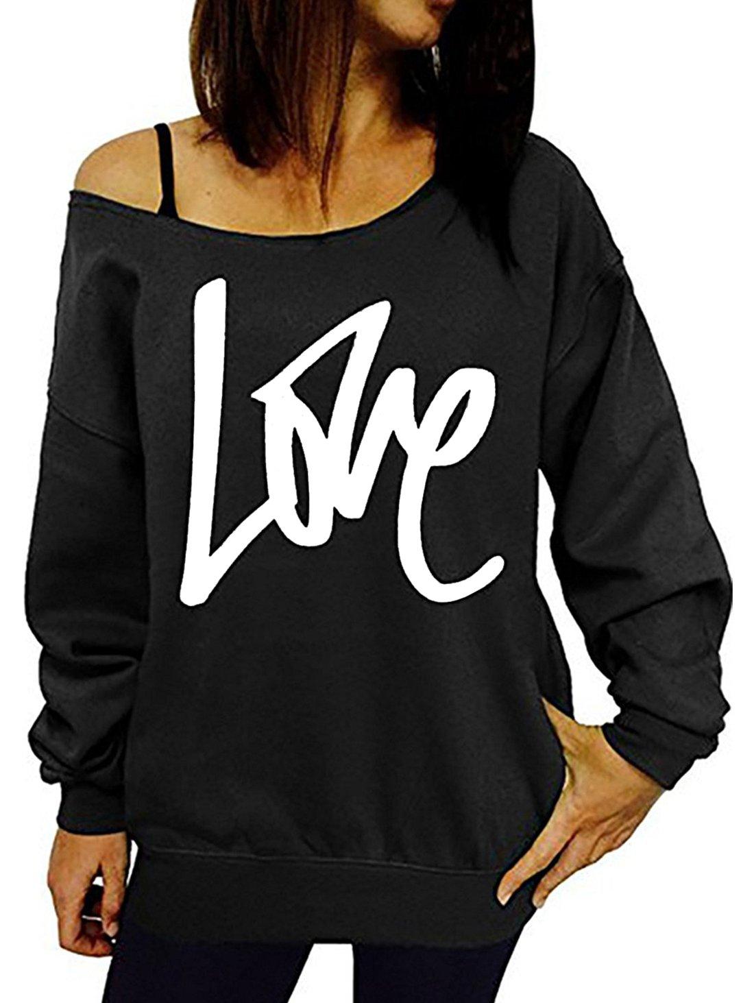 GSVIBK Womens Black Sweatshirts Casual Off Shoulder Sweatshirt Letter Printed Shirts Top Pullover Slouchy Black 203-3XL